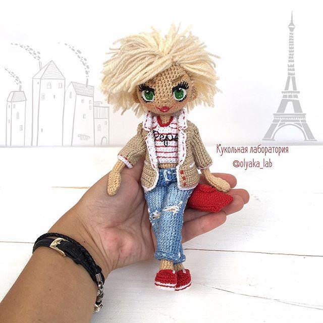 Куколка Лера на ладошке рост 20 см проволочный каркас цельно связанная(… ♡ lovely doll