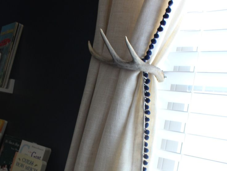 Deer Antler Curtain Pull - such a fun detail in this farm-themed nursery!