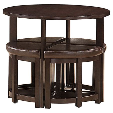 Space saving bar table set with 4 nesting stools upholstered in faux leather.  Product: Bar table and 4 stoolsConstr...