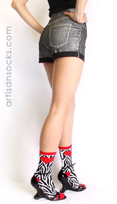 Zebra Print & Red Heart Socks: Socks Sexxi, Zebras Socks, Crew Socks, Zebraprint, Red Heart, Socks Matter, Crazy Socks, Heart Socks, Fun Socks