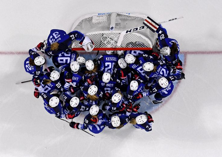 The United States women's hockey team huddles before the game against Olympic Athletes from Russia. #Olympics 2018 #Life Is Beautiful