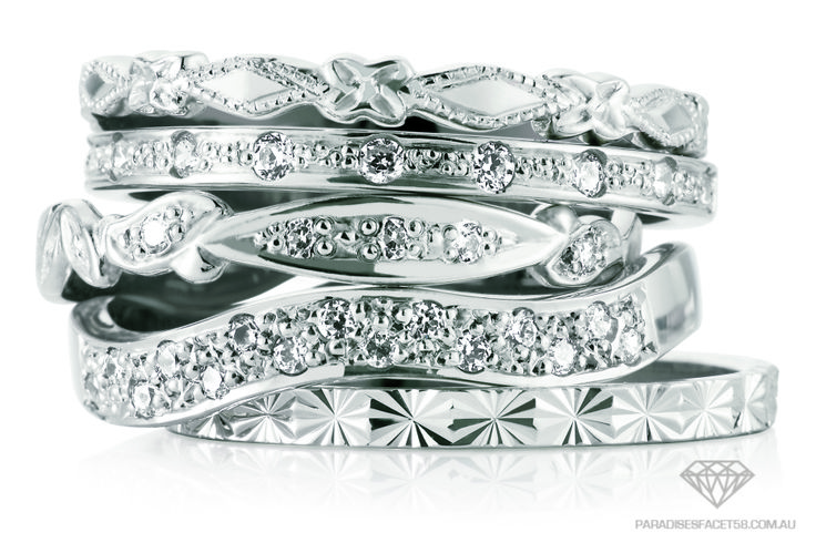 Peter W Beck Wedding Rings Stack White Available in 9ct & 18ct Yellow, Rose and White Golds, Platinum and Palladium