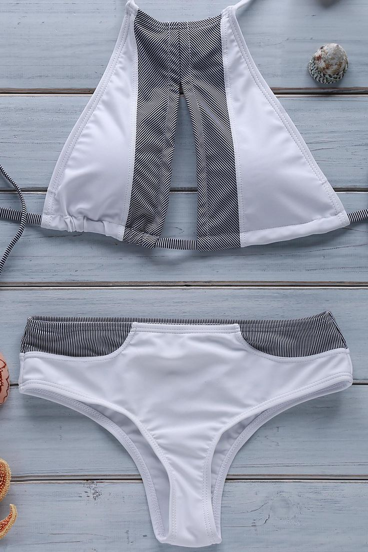 Stripe Spliced Halter Bikini Set