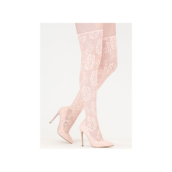 All About Lace Pointy Thigh-High Boots ($48) ❤ liked on Polyvore featuring shoes, boots, over-the-knee boots, tan, lace thigh high boots, over-knee boots, thigh high boots, tan over the knee boots and stretch thigh high boots