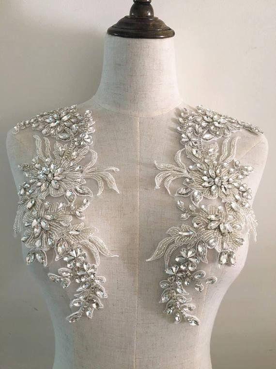Rhinestone Bead Applique Heavy Bead Handmade Rhinestone Applique For Bridal Dress Bridal Headpiece Heavy Bead Crystal Applique Bodice Bridal Applique Beaded Applique Beaded Lace