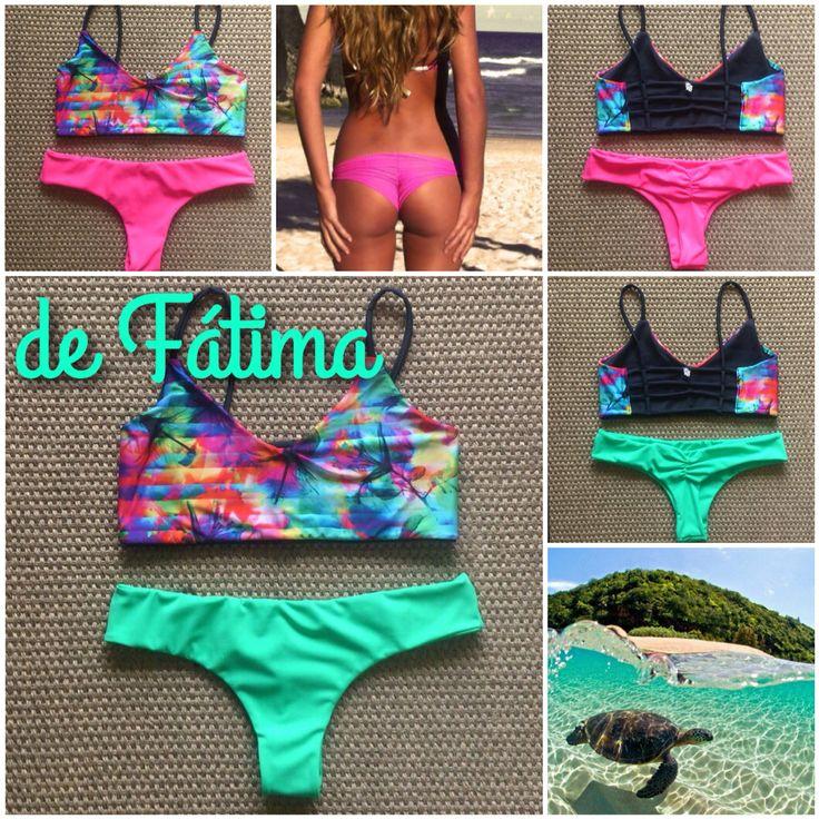 Bikinis Tiritas Psicodélico Fucsia y Verde