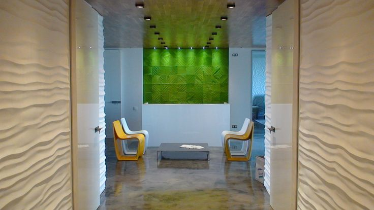patchwork hide rug light green colour for a very modern office