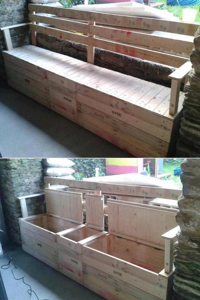 pallet bench. Very cheap option! Get rid of the back rest. Good storage too