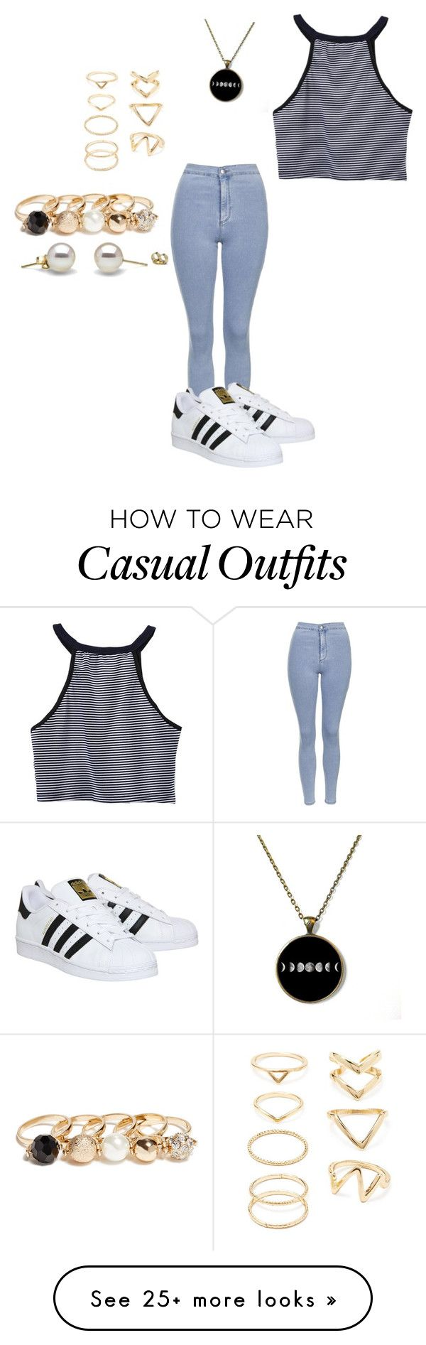 """casual"" by noellializbet on Polyvore featuring Topshop, adidas, Forever 21 and GUESS"
