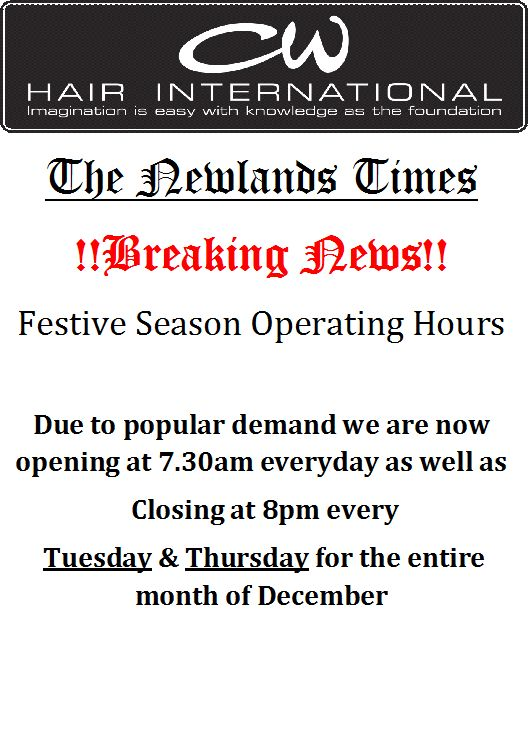 EXTENDED OPERATING HOURS FOR THE FESTIVE SEASON!