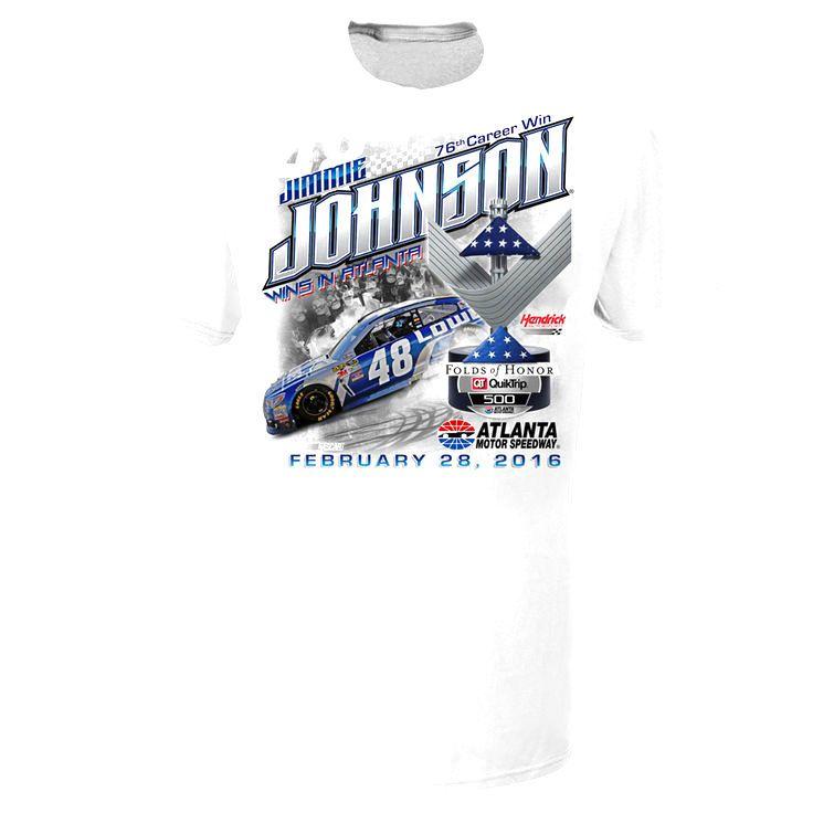 Jimmie Johnson 2016 Folds of Honor Quicktrip 500 Race Winner T-Shirt - White - $22.39