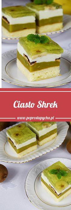 Zielone ciasto – Shrek jest po prostu pyszne! <3 Jego elementy to : biszkopt, zielony budyń, delicje, masa śmietankowa, kawałki banana, agrestowa galaretka :) Nie jest za słodkie lecz właśnie takie w sam raz <3 #poprostupycha #ciasto #wypieki #deser