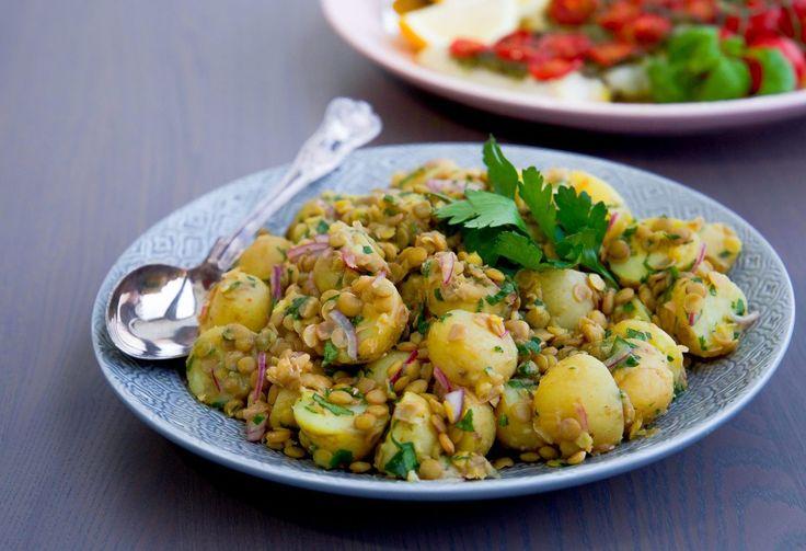 Potatissallad med gröna linser