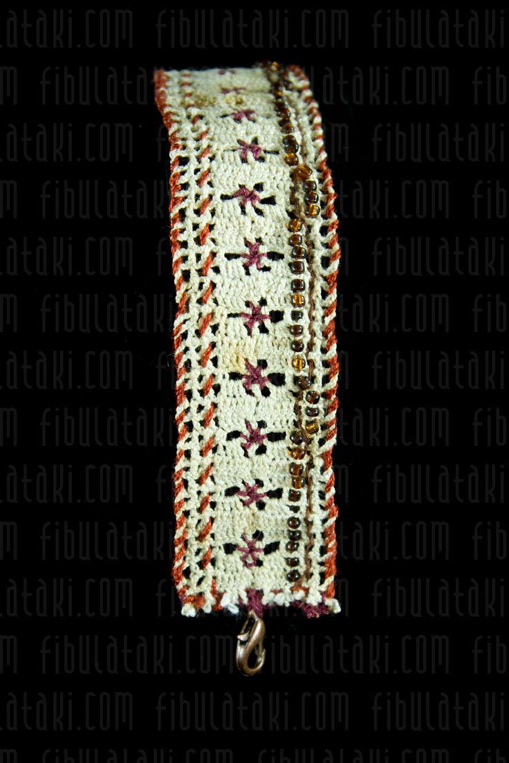 Fibula Takı - Çeyiz Sandığı Serisi / Bileklik - örgü - dantel - beyaz, turuncu, kahverengi, mor