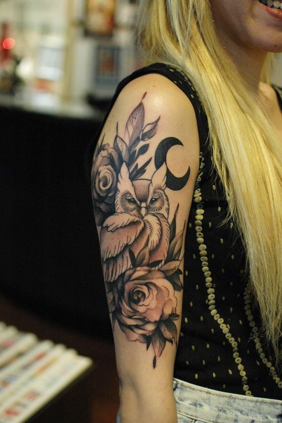 owl tattoo sleeve - love everything, just without the moon. owl is perfect. soft, feminine, graceful and powerful