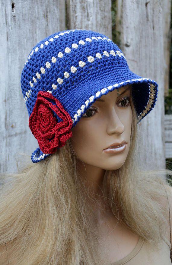 Summer Hat Crochet witch Red Rose Cloche Hat Blue Cotton Floppy Hat flower Rose Sun Hat Hand made Brimmed Sun Spring Summer Garden Hat Women