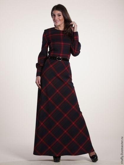 Платье теплое в пол/платье в клетку - в клеточку,платье,платья,платье в пол