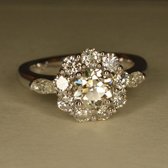 Flower Shaped Engagement Ring 14K And 18K White Gold Flower
