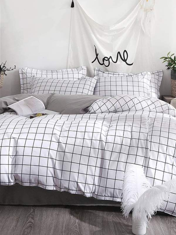 Allover Grid Duvet Cover Bed Linens Luxury Bedding Sets Luxury
