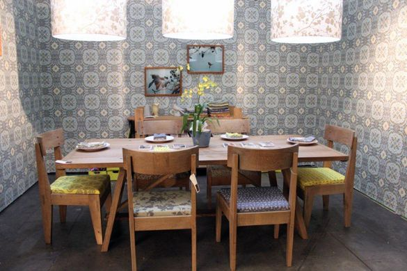 DESIGN TEAM Wallpaper and fabric, Pierre Cronje Karoo Table and Loft chairs.