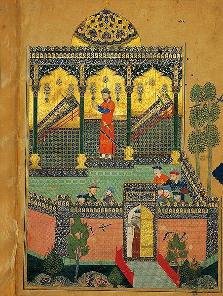 La Douleur de Roustam, miniature du Livre des rois de Baïsonqor, 1430, Téhéran, palais du Golestan