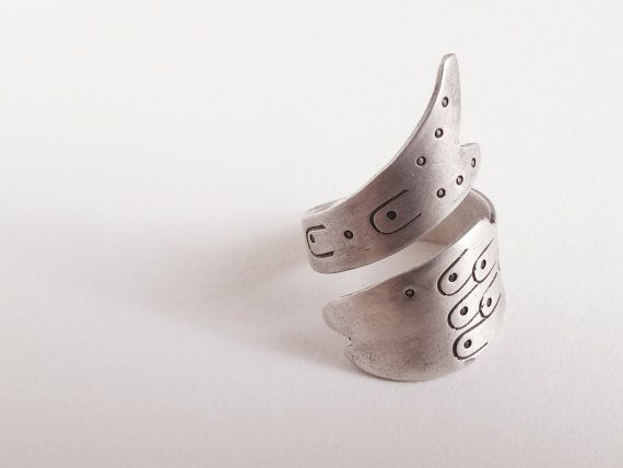 big fish twisted band ring adjustable silver by LillyOJewellery