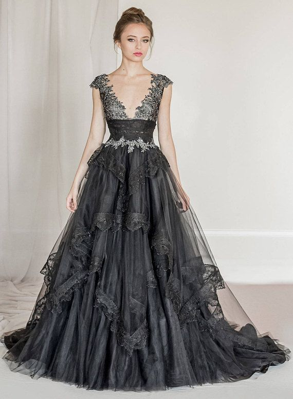 Black tulle and lace evening gown, black wedding dress, black wedding gown, black prom dress, red carpet dress | Black wedding dresses, Black wedding gowns, Lace evening gowns