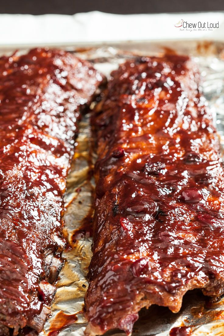 Cranberry BBQ Saucy Ribs - Chew Out Loud
