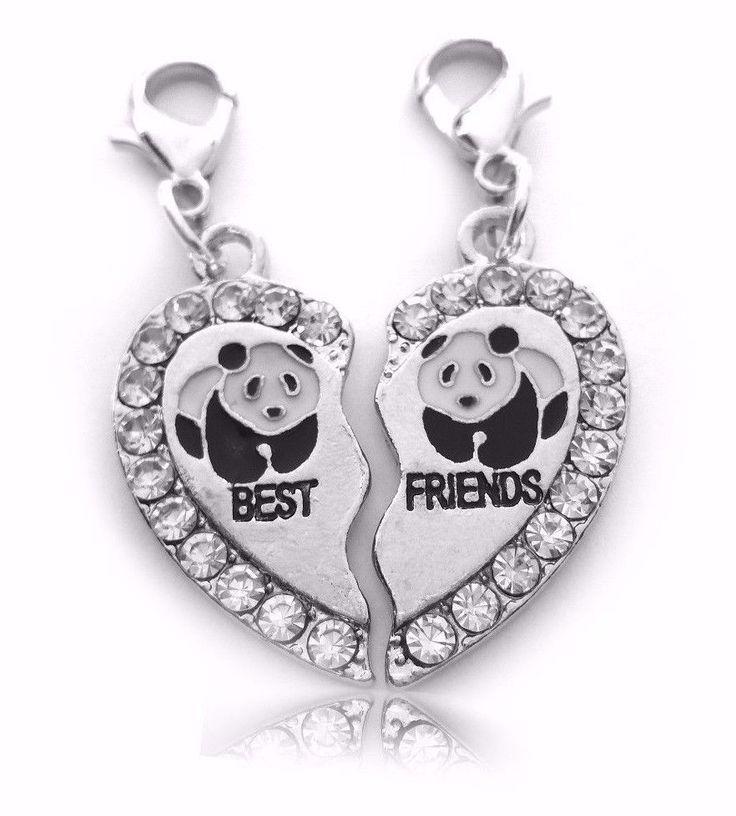 BEST FRIENDS Freundschaft Charms  2 herzförmige Partneranhänger  PANDA. an Karabiner  Super geeignet für Paare oder beste Freunde.