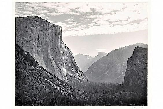 Yosemite Valley, High Clouds, from Tunnel Esplanade, Yosemite National Park, California, ca. 1940. Photograph by Ansel Adams. Collection Center for Creative Photography. © 2016 The Ansel Adams Publishing Rights Trust.