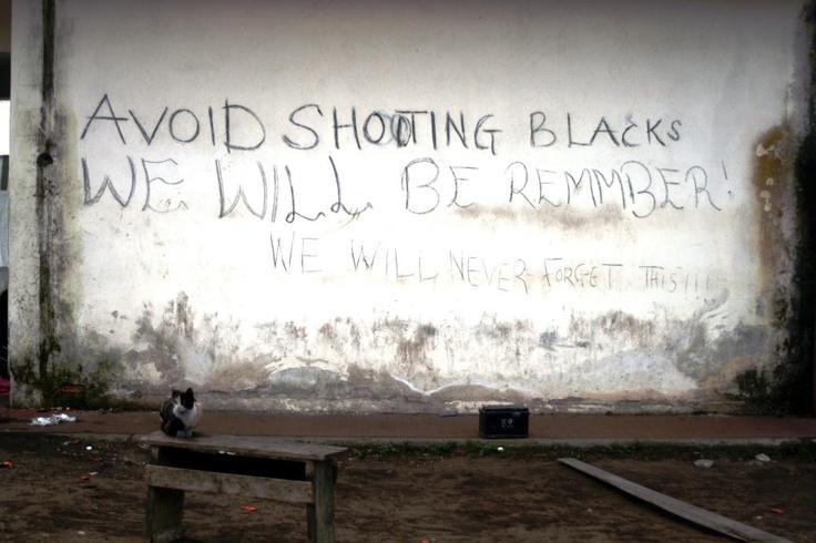 """Avoid Shooting Blacks - We Will Remember"" - Rosarno, Italy 2010 (Photo: Ivana Russo)"