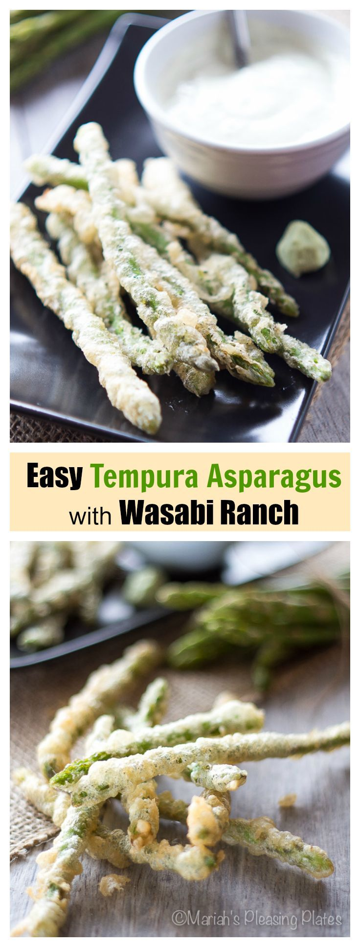 This Tempura Asparagus with Wasabi Ranch takes only 10 minutes to make and is so easy! It will be your new favorite side dish for weeknight meals!