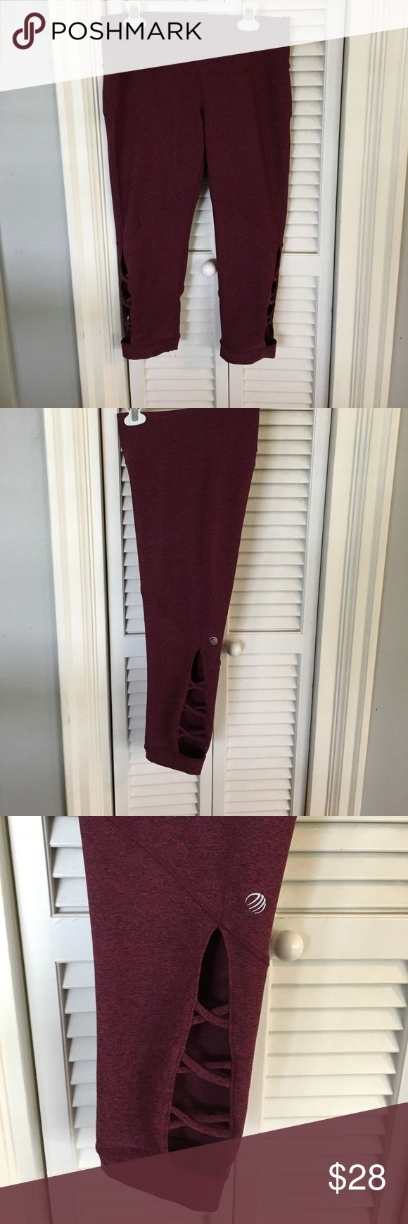 MPG Maroon Leggings (Cropped) Never been worn, really cute design on the bottom legs, just find myself never wearing it. Women's Small enjoy! MPGsport Pants Leggings