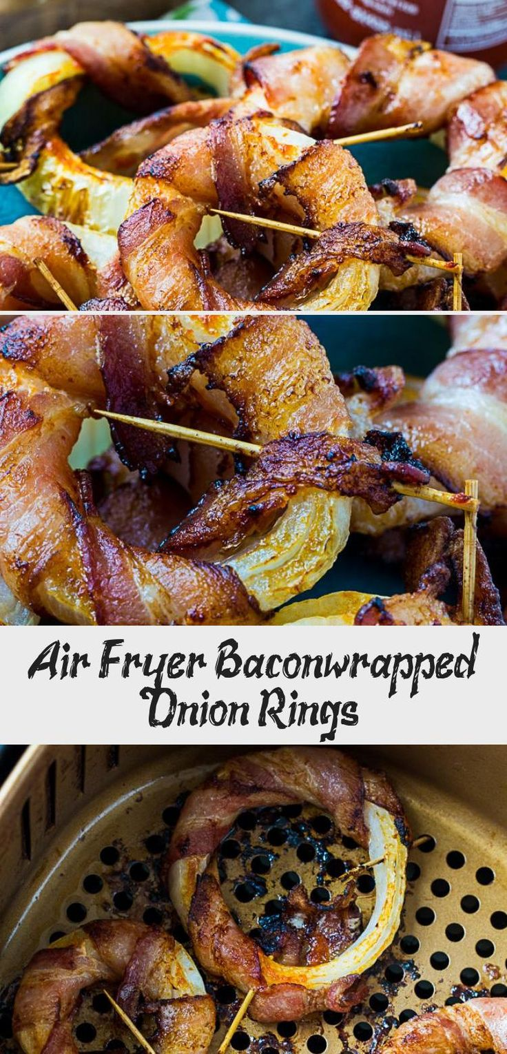 Air Fryer Bacon Wrapped Onion Rings lowcarb keto paleo