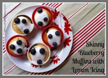 Skinny blueberry muffins with lemon icing