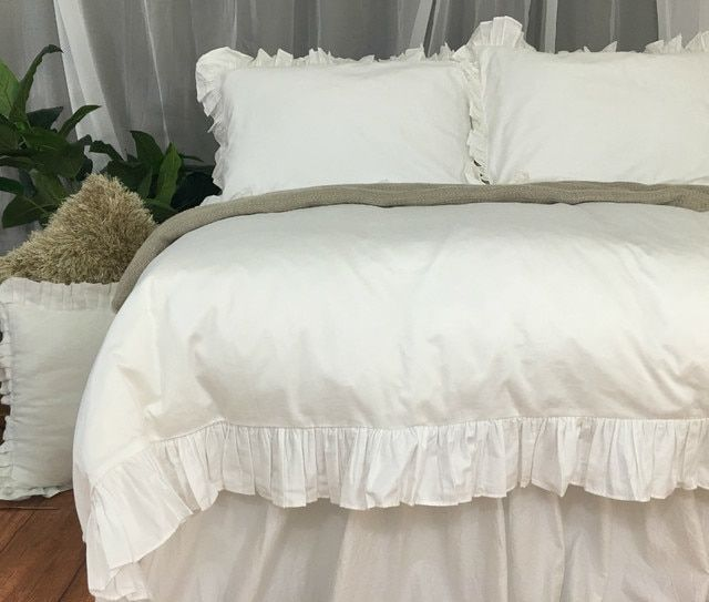 Pima Cotton Ruffle Duvet Cover Pick Your Color Ruffle Duvet
