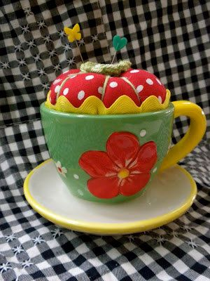 Teacup Pincushion by deniablydomestic on Etsy, $25.00