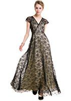 Selenaly Women V Neck Cap Sleeve Lace Formal Long Evening Cocktail Dress
