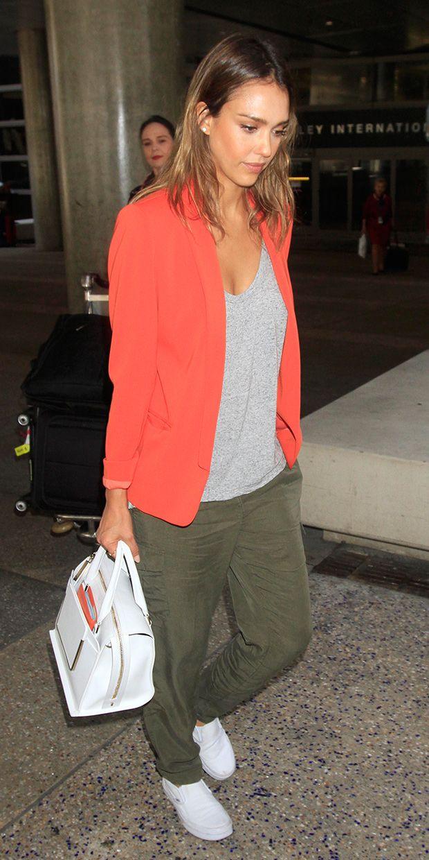 Jessica Alba's Red Blazer Is The Perfect Summer Statement Piece via @WhoWhatWearUK