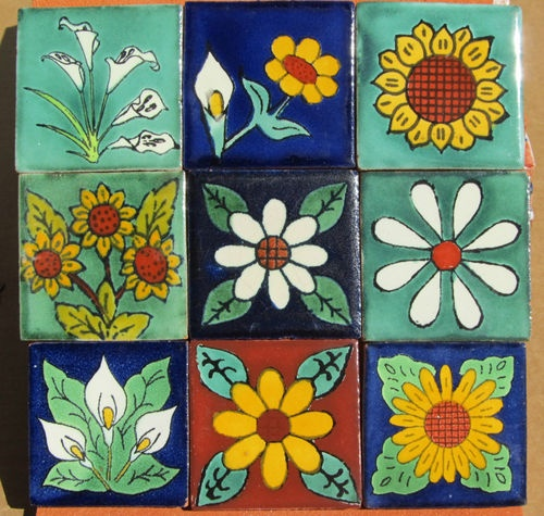 """9~MEXICAN TALAVERA POTTERY 2"""" tile Hand Painted Hand made"""