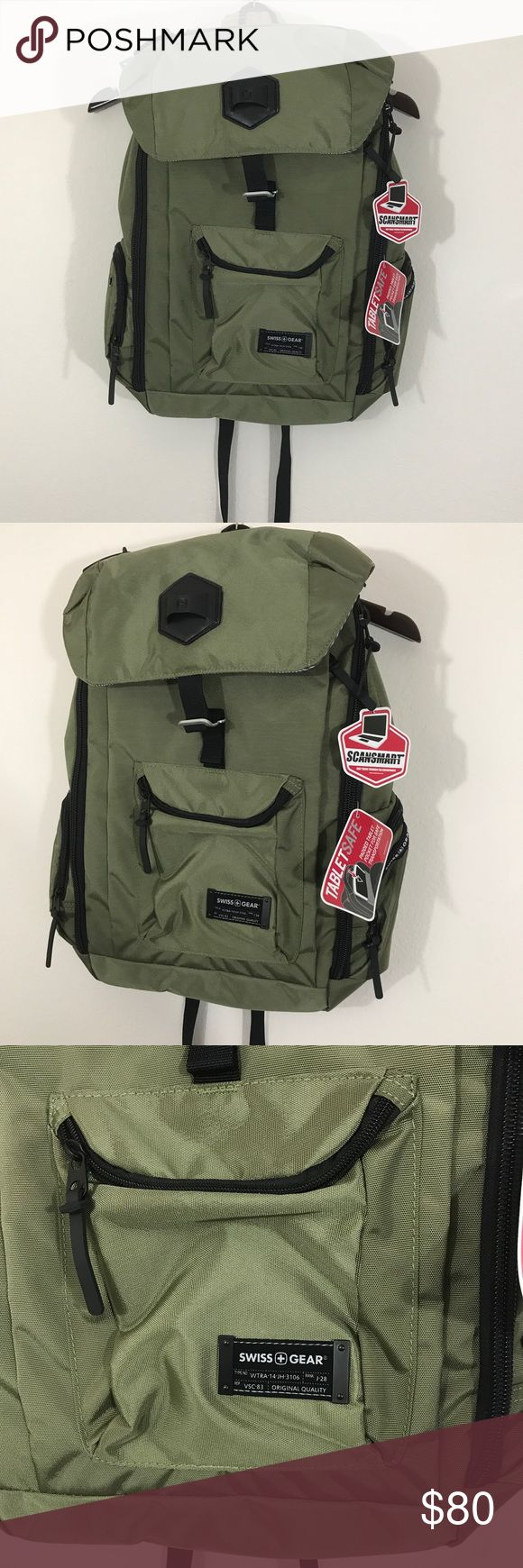 Swiss gear green backpack duffle tablet pocket New with tags Swiss gear back pack . No stains or tears. In perfect condition. All zippers work. SwissGear Bags