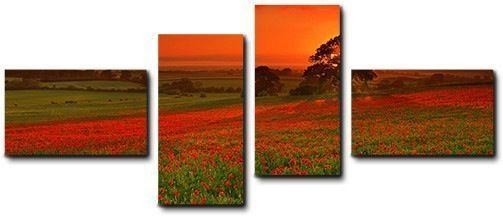 Quadro moderno 4 pz stampa su tela cm 176x74 quadri XXL arte fiori tramonto