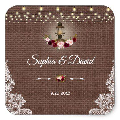Vintage Lace Burlap Lantern String Lights Wedding Square Sticker - wedding stickers unique design cool sticker gift idea marriage party