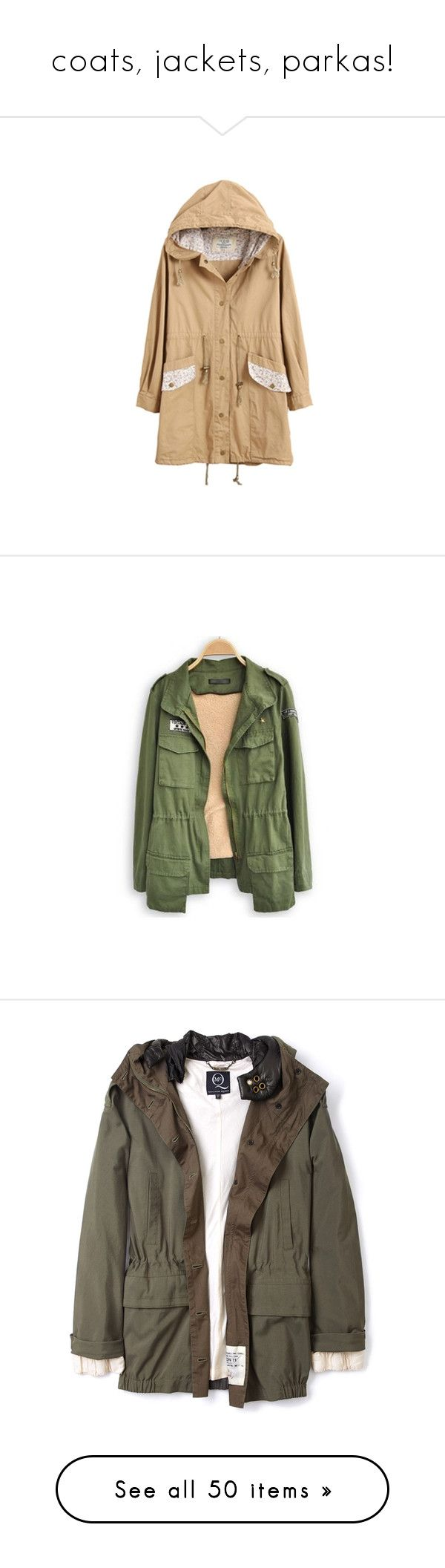 """""""coats, jackets, parkas!"""" by karm-a ❤ liked on Polyvore featuring outerwear, coats, jackets, coats & jackets, hooded trench coats, beige coat, hooded trench, tops, green and long lapel coat"""