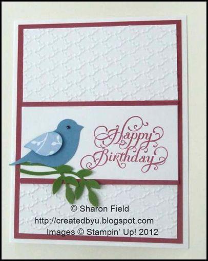 SU Beautiful Birthday, Fancy Fan E F,  Bird Builder punch, scrap of Bashful Blue DSP(R)