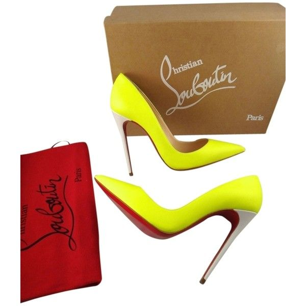 Pre-owned Christian Louboutin So Kate Yellow Pumps ($860) ❤ liked on Polyvore featuring shoes, pumps, yellow, yellow high heel shoes, yellow pointy toe pumps, yellow pointed toe pumps, leather pointed toe pumps и neon yellow shoes