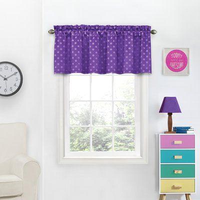 "Harriet Bee Miguelangel Thermaweave Blackout 54"" Window Valance Color: Purple"