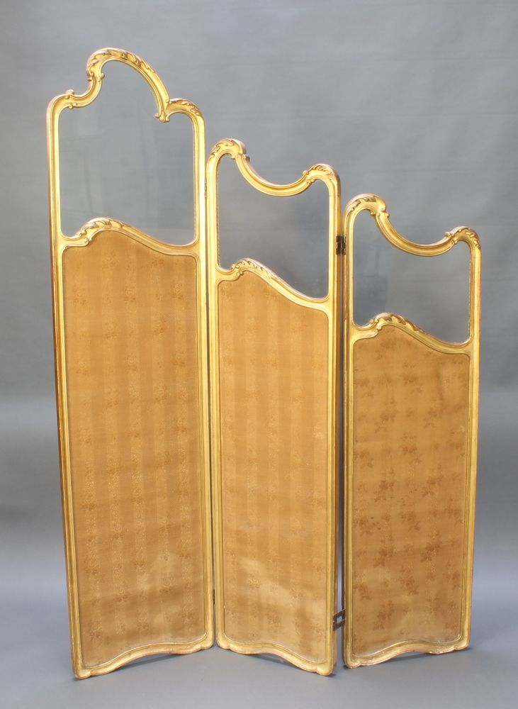 """Lot 938, An Edwardian gilt painted wooden 3 fold draft screen highest section 73""""h, lowest 55""""h x 53 1/2"""" when open, 19"""" when closed est £150-200"""