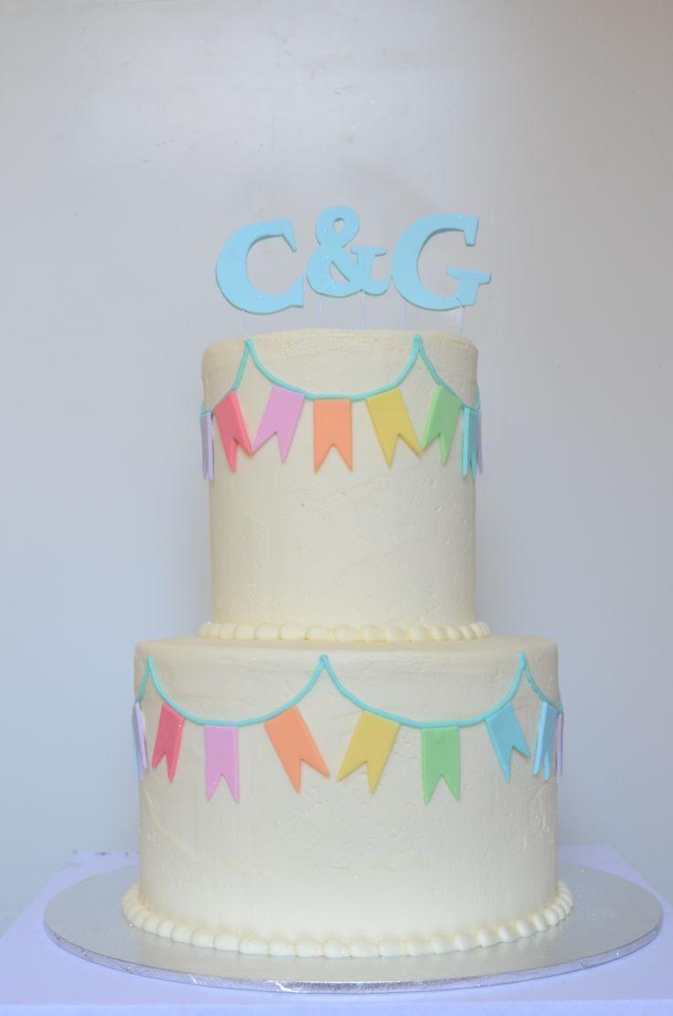 Two tier double barrel rainbow cake