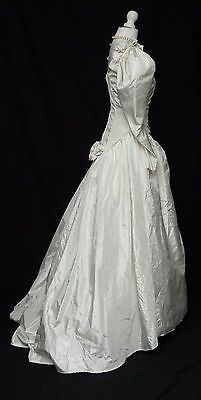 Vintage 1950s 1980s Style Long Sleeve Ivory Satin Train Wedding Dress 10 R367